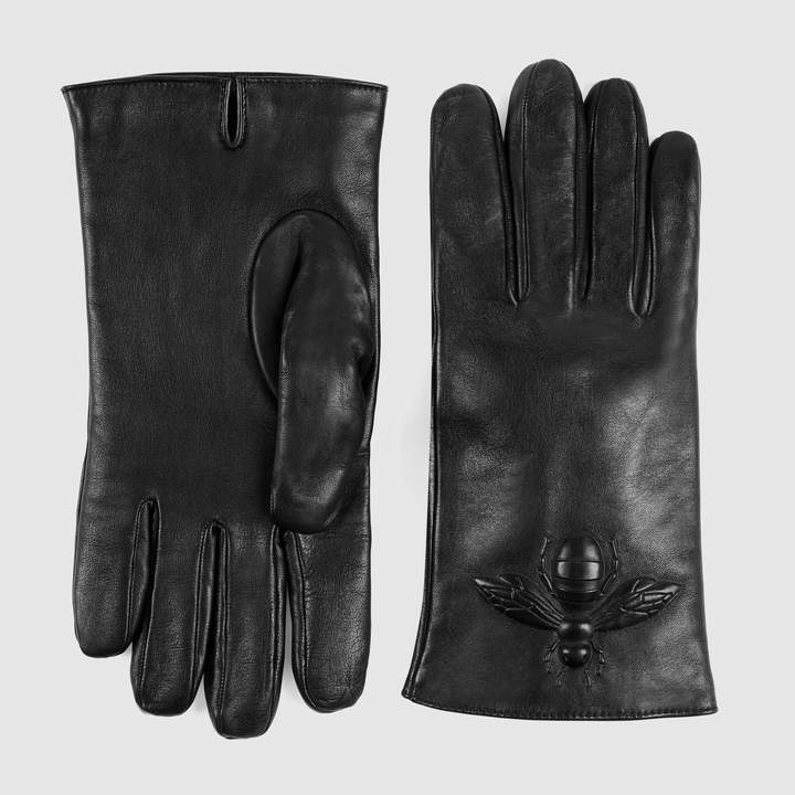 Gucci Bee embossed leather gloves