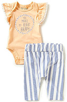 Jessica Simpson Baby Girls Newborn-9 Months Flutter-Sleeve Bodysuit and Striped Pants Set