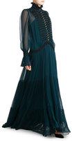 Roberto Cavalli High Collar Silk Evening Gown