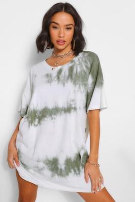 boohoo Tie Dye Oversized T-Shirt Dress