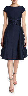 Halston Bateau-Neck Cap-Sleeve Satin Insert Fit-&-Flare Dress