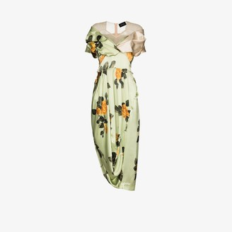 Simone Rocha Draped floral silk dress