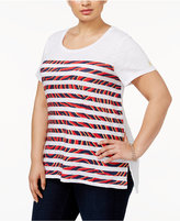 MICHAEL Michael Kors Size Cotton Printed-Stripe T-Shirt