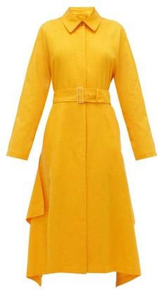 Joseph Cassie Waterfall-panel Belted Shantung Overcoat - Womens - Orange