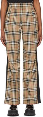 Burberry Beige Cotton Vintage Check Trousers