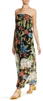 Bobeau Tropical Print Strapless Maxi Dress (Petite)