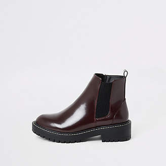River Island Burgundy patent chunky ankle boots
