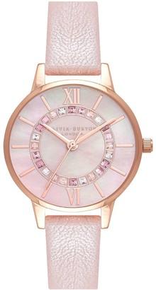 Olivia Burton Wonderland Sparkle Wonderland Blush Mop Dial Pearl Pink & Rg Watch