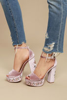 Qupid Abella Blush Velvet Embroidered Platform Heels