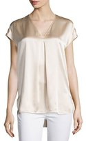 Vince Cap-Sleeve Silk Popover Blouse, Rose Water
