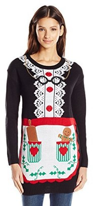 Allison Brittney Women's Mrs. Clause Baking Apron Ugly Christmas Sweater