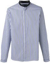 Juun.J neck detail striped shirt