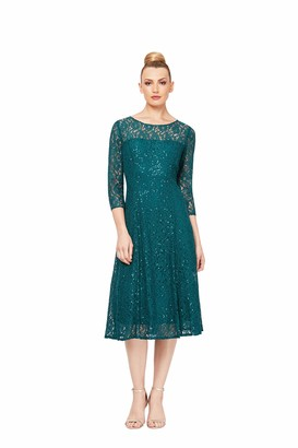 SL Fashions Women's Lace and Sequin Fit and Flare Dress