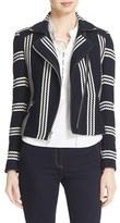 Veronica Beard Women's Bailey Stripe Knit Moto Jacket