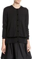 Moncler Velvet Trim Cardigan Sweater, Black