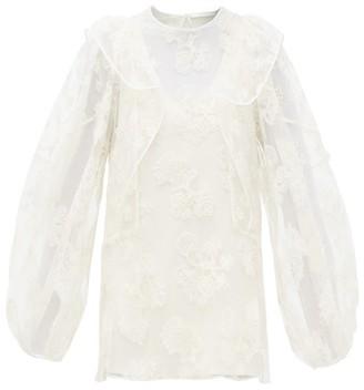 Chloé Festive Floral-embroidered Tulle Blouse - Womens - Ivory