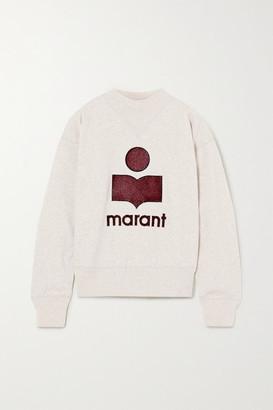 Etoile Isabel Marant Moby Flocked Melange Cotton-blend Jersey Sweatshirt - Ecru