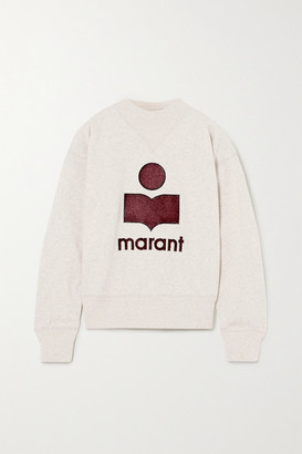 Etoile Isabel Marant Moby Flocked Melange Cotton-blend Jersey Sweatshirt