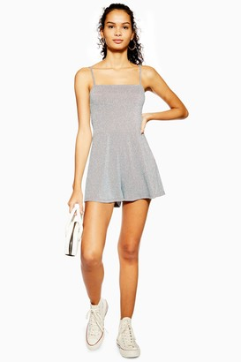 Topshop Womens Silver Glitter Tie Playsuit - Silver