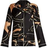 Valentino Panther-print silk-twill pyjama top