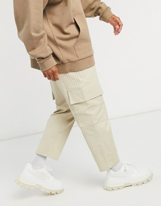 Vintage Supply soft cord cargo trousers in light tan