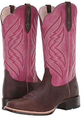 Ariat Pinnacle (Distressed Brown/Fuchsia) Cowboy Boots