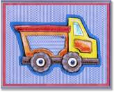 Stupell Industries The Kids Room by Stupell Yellow and Orange Dump Truck on Blue Stripes Rectangle Wall Plaque