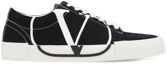 Valentino Vlogo Low Top Canvas & Suede Sneakers