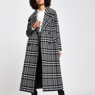 River Island Womens Black check print oversized longline coat