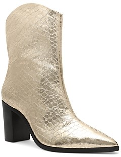 Schutz Women's Vonna Croc Embossed High Block Heel Booties