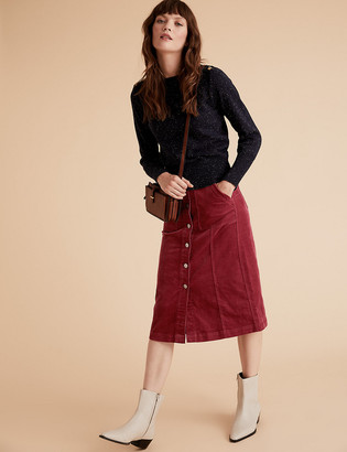 Marks and Spencer Corduroy Button Front Midi A-Line Skirt