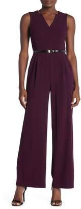 Calvin Klein Belted Sleeveless Crepe Jumpsuit