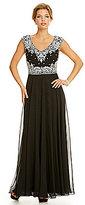 J Kara V-Neck Embellished Bodice Gown