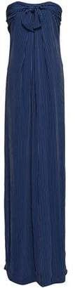 Halston Strapless Knotted Striped Crepe Gown