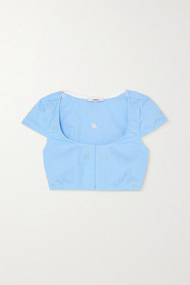 Miaou Net Sustain Jane Cropped Embroidered Cotton-blend Top - Blue