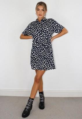 Missguided Navy Dalmatian Print Shirt Smock Dress