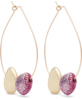 Dinosaur Designs Small Mineral Gold-filled Resin Hoop Earrings - Fuchsia