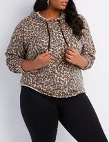 Charlotte Russe Plus Size Leopard Cuff-Off Cropped Hoodie