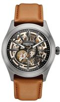 Kenneth Cole Gunmetal-Tone Stainless Steel and Leather Skeleton Strap Watch, 10030817