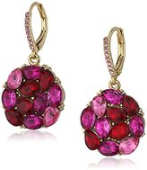 """Betsey Johnson Garden of Excess"""" Pink Multi Faceted Stone Cluster Round Drop Earring"""