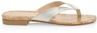 Stuart Weitzman Aldona Metallic Leather Thong Sandals