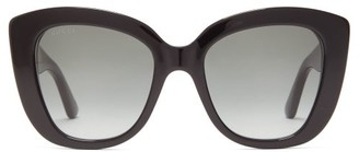 Gucci GG-embossed Butterfly Acetate Sunglasses - Black