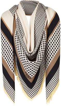 Fendi Gingham And Stripe-Print Scarf
