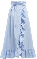 Thierry Colson Gatsby Cotton Midi Wrap Skirt - Womens - Blue