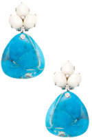 Rina Limor Fine Jewelry 18K White Gold, Turquoise & 0.14 Total Ct. Diamond Drop Earrings