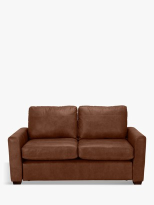 House by John Lewis Oliver Small 2 Seater Leather Sofa, Dark Leg
