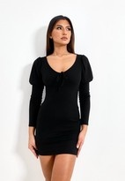 Thumbnail for your product : Missguided Black Rib Bust Cup Puff Sleeve Mini Dress