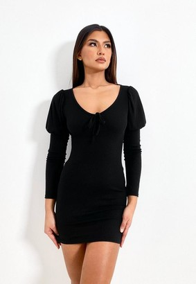 Missguided Black Rib Bust Cup Puff Sleeve Mini Dress
