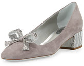 Rene Caovilla Crystal Bow 30mm Chunky-Heel Pump, Gray