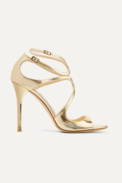 Jimmy Choo Lang 100 Metallic Leather Sandals - Gold